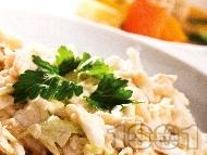 Рецепта Сочна зелева салата със сметана и соев сос
